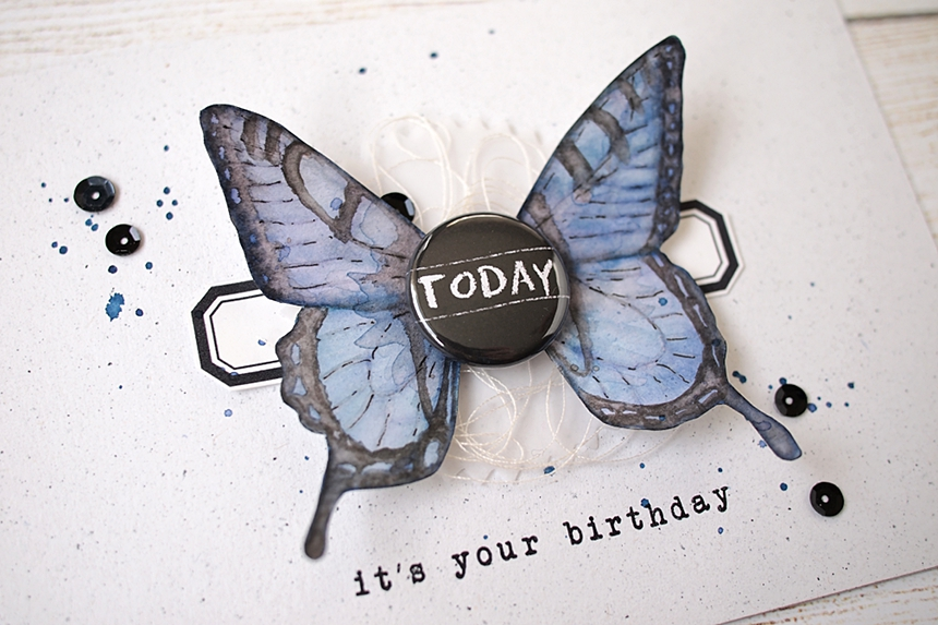 No-Line Watercolor Butterfly Card by Els Brigé for A Flair For Buttons
