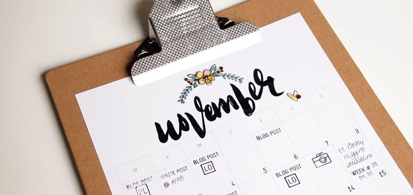 November Blog Planner Page + video