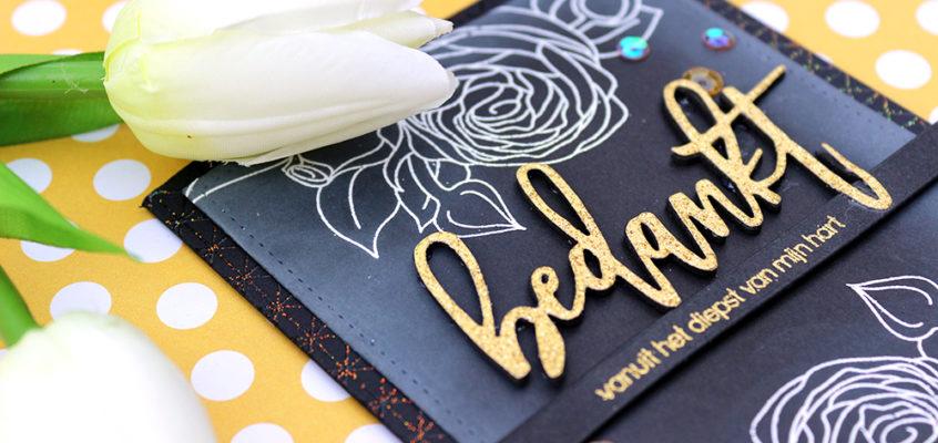 Krijtbord bloemenkaart/Chalkboard flowers card | Ellen